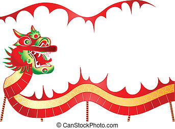 Chinese dancing dragon - Framed dancing dragon ready for New...