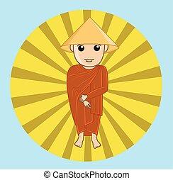 Chinese Devotee Monk Vector Illustration