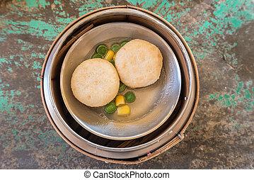 Chinese Dim sum in bamboo basket