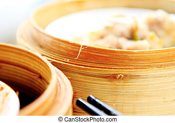 chinese dim sum,foucs on the bamboo steamer