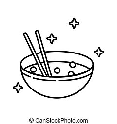 chinese dish rice line style icon