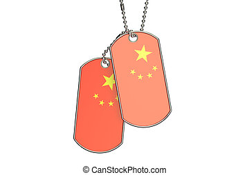 Chinese Dog Tags, 3D rendering