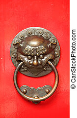 Chinese Door Handle With a Lion Guardian