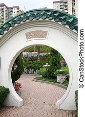 Chinese door in garden