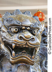 Chinese Dragon - A sculpture of a Chinese dragon shot in...