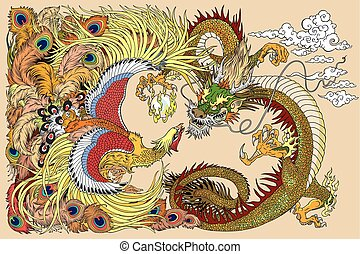 Chinese dragon and phoenix playing a pearl - Chinese dragon...