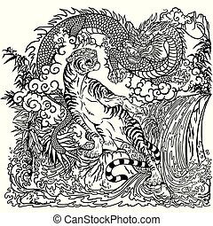 chinese dragon and tiger coloring page - Chinese dragon and...