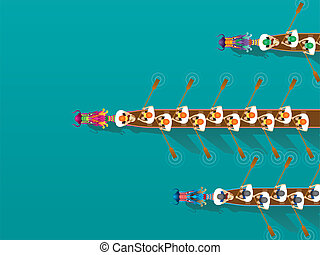 Chinese Dragon Boat competition illustration in high angle ...