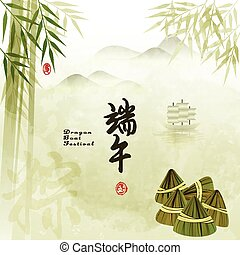 Chinese Dragon Boat Festival with Rice Dumpling Background ...