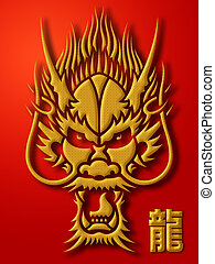 Chinese Dragon Calligraphy Gold on Red Background...