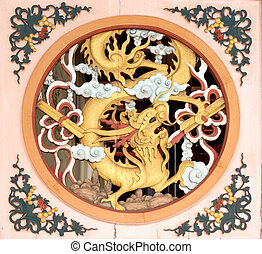 Chinese Dragon Emblem on Entrance of Old Temple