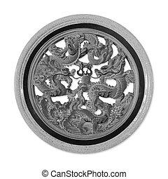 Chinese dragon granite carvings