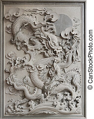Chinese Dragon Granite Stone Carving