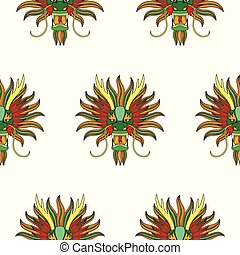 Chinese dragon head seamless pattern