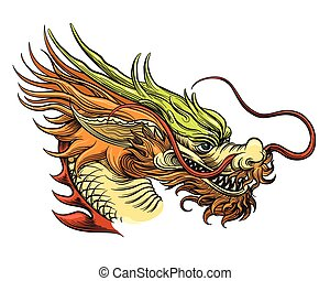 Chinese Dragon Head vector illustration. China draghi...