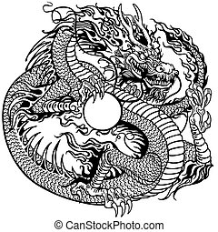 chinese dragon holding pearl, black and white tattoo...