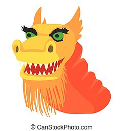 Chinese dragon icon, cartoon style