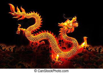 Chinese dragon lantern over black background