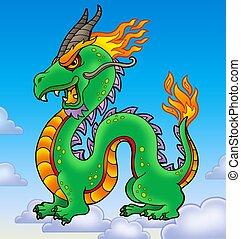Chinese dragon on blue sky
