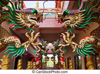 Chinese dragon on the pillar in shrine,East of Thailand