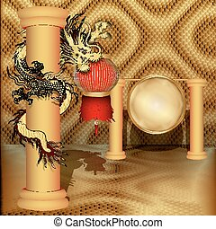 Chinese dragon on the pillar with Chinese lanterns and disk