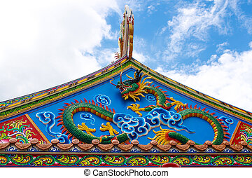 Chinese Dragon on the roof of China temple.