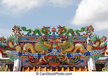 chinese dragon on the roof of shrine