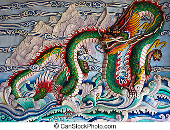 chinese dragon on wall at Chinese temple in Phuket