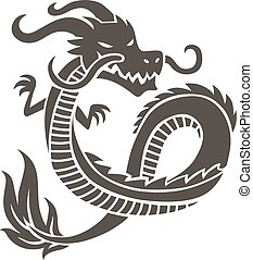 Chinese dragon on white background - Dragon Tattoo. Chinese...