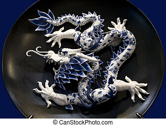 CHINESE DRAGON - Chinese dragon in porcelain dish background