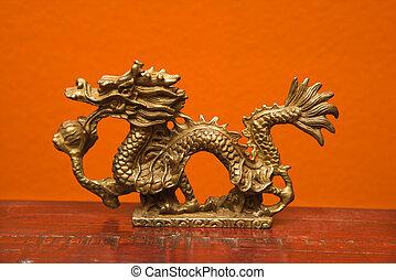 Chinese dragon statue. - Chinese Taoist wisdom brass dragon ...