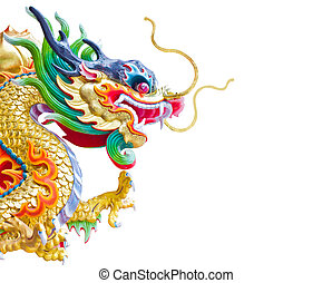 Chinese dragon statue isolated on the white