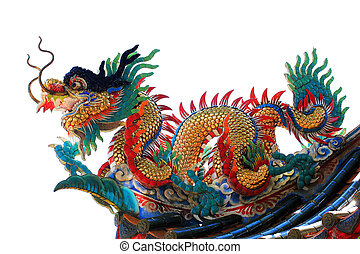 Chinese dragon statue on roof - Chinese style dragon statue...