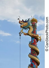 Chinese dragon statue roll pole