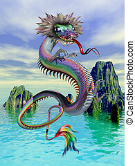 Chinese Dragon - A Chinese dragon flying above a scenic...
