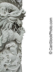 Chinese Dragon Stone Carving Column