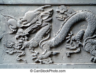 Chinese Dragon - Typical Chinese carven dragon one wall...