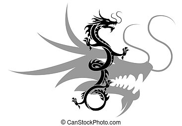 chinese dragon - the dragon is flying to sky
