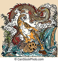 Chinese dragon and tiger in the landscape with waterfall , rocks ,plants and clouds . Two spiritual creatures in the Buddhism representing the spirit heaven and matter earth. Graphic style vector illustration