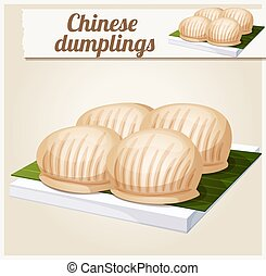 Chinese dumplings. Detailed Vector Icon