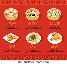 Chinese dumplings, set II - Chinese steamed, fried and...