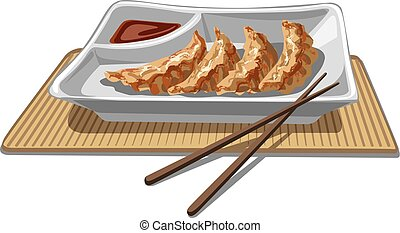 illustration of chinese dumplings with soy sauce