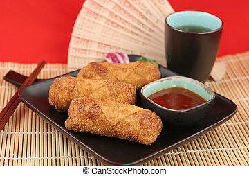 Chinese Egg Rolls & Tea 1 - Crispy fried egg rolls with...
