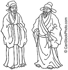 Vector illustration of Chinese elders in black and white for coloring.