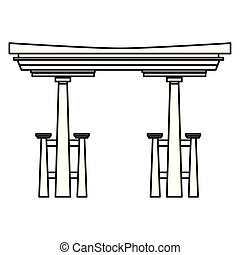 Chinese entrance door building cartoon in black and white -...