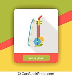 Chinese erhu music instrument flat icon