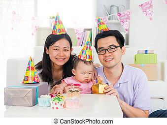 chinese family celebrating baby birthday party ,full moon