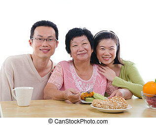 chinese family dining with isolated white background