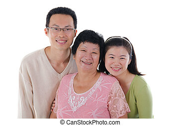 chinese family isolated on white background