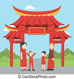 chinese family standing in front of chinese gate